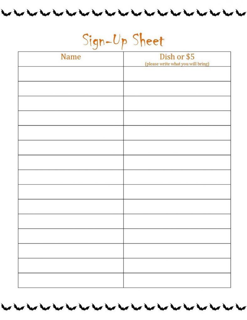 Printable Sign Up List sheet u2013 Learning Printable
