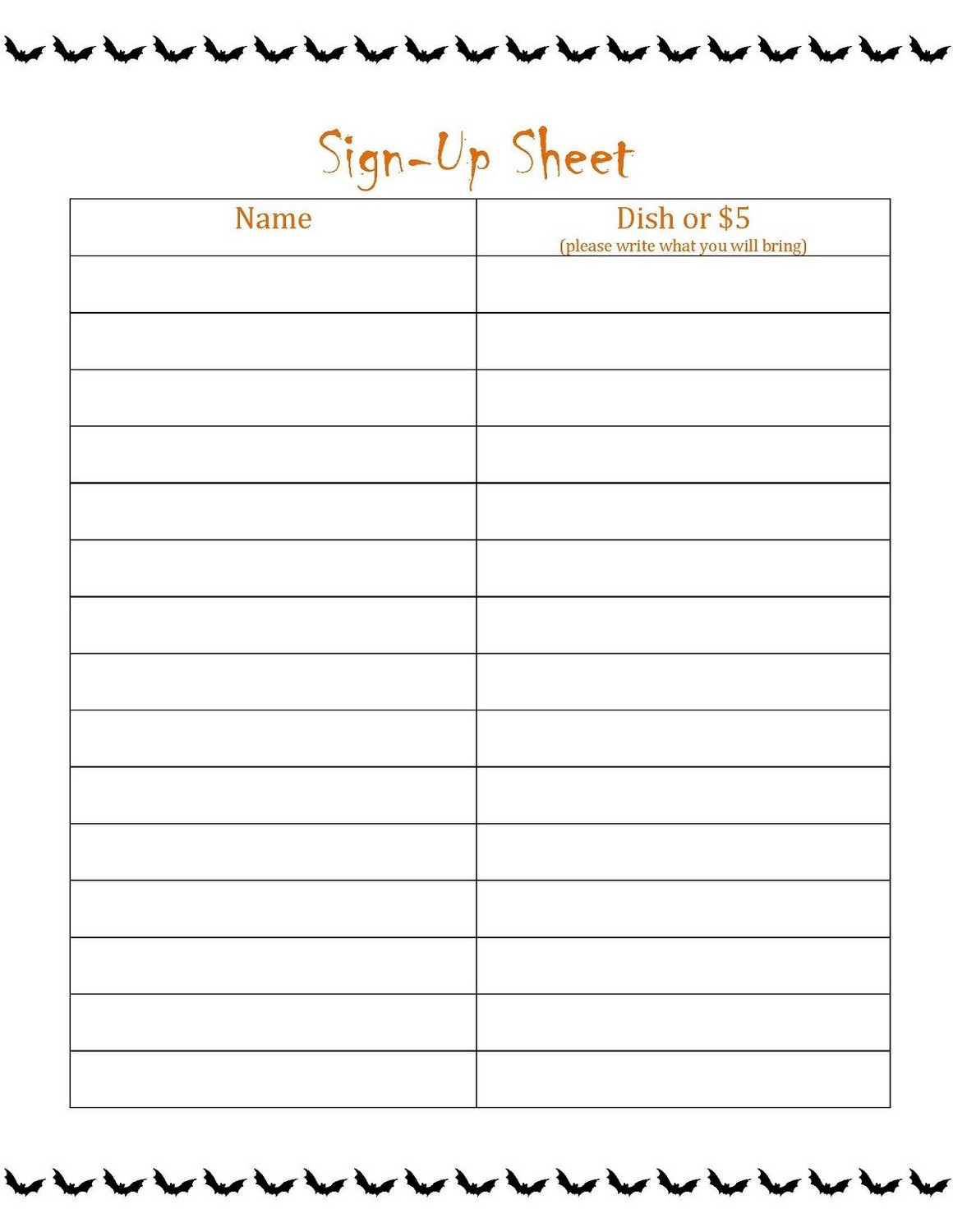 Printable Sign Up List sheet