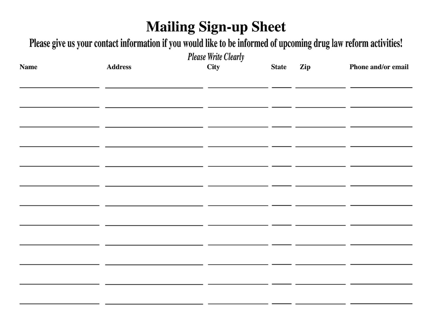 Printable Sign Up List template