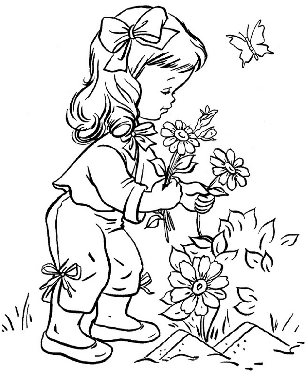 Printables for kids flowers coloring