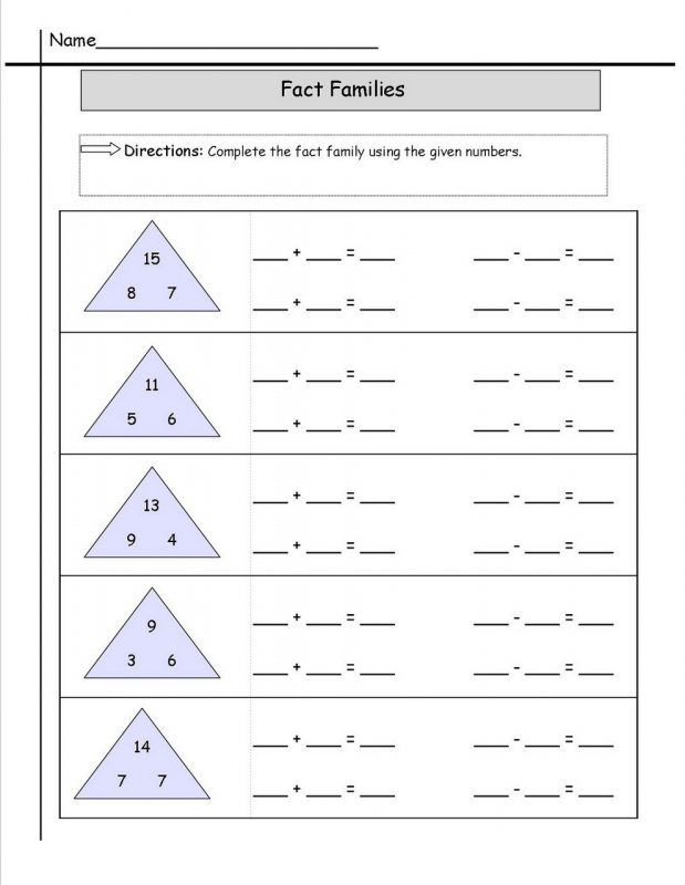 Math Fact Families Worksheet Learning Printable