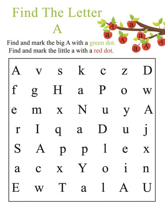 find the letter a worksheet - Bindrdn.waterefficiency.co