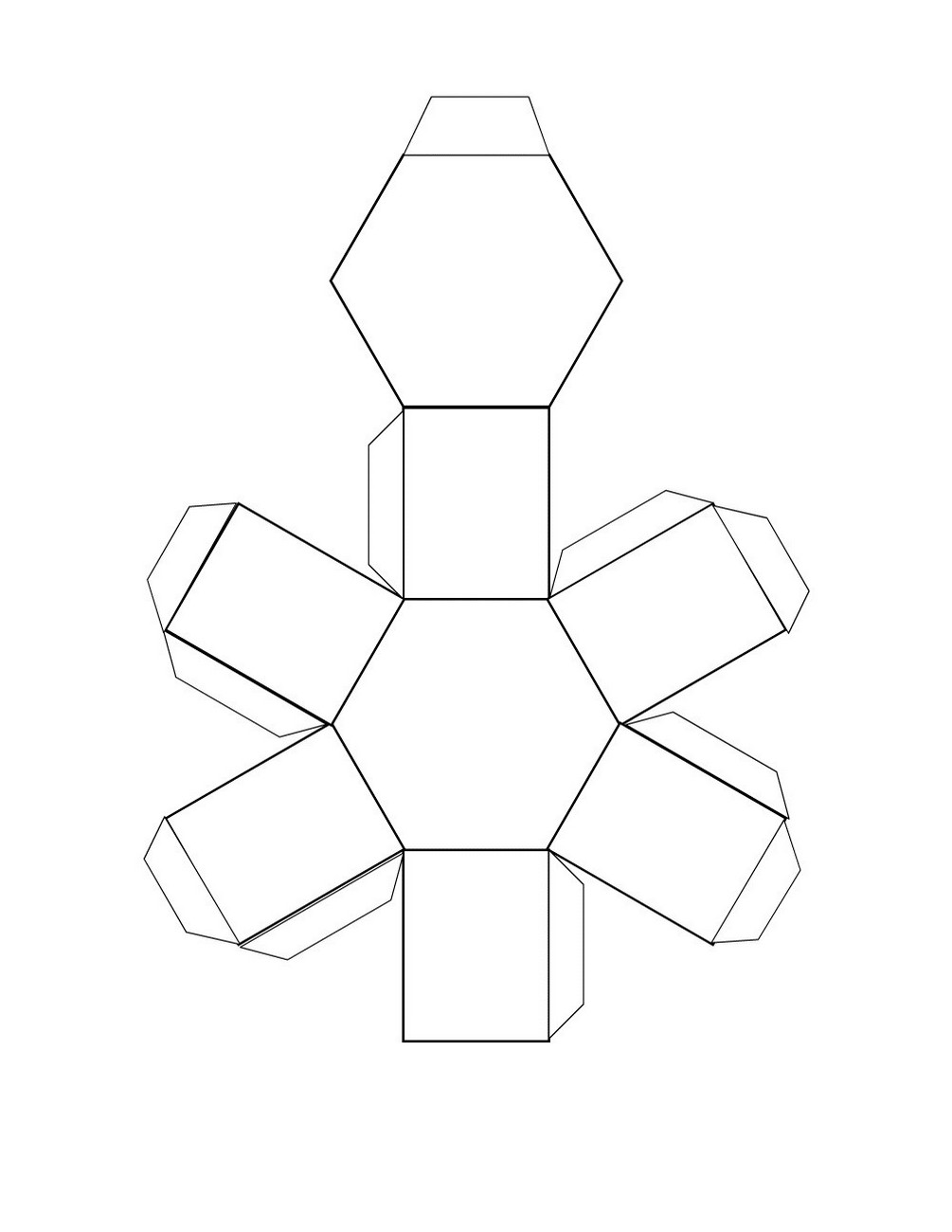 free printable 3d shape nets hexagonal