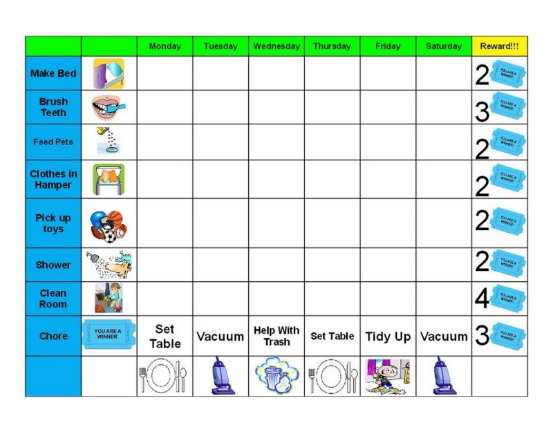 free printable childrens behaviour chart page