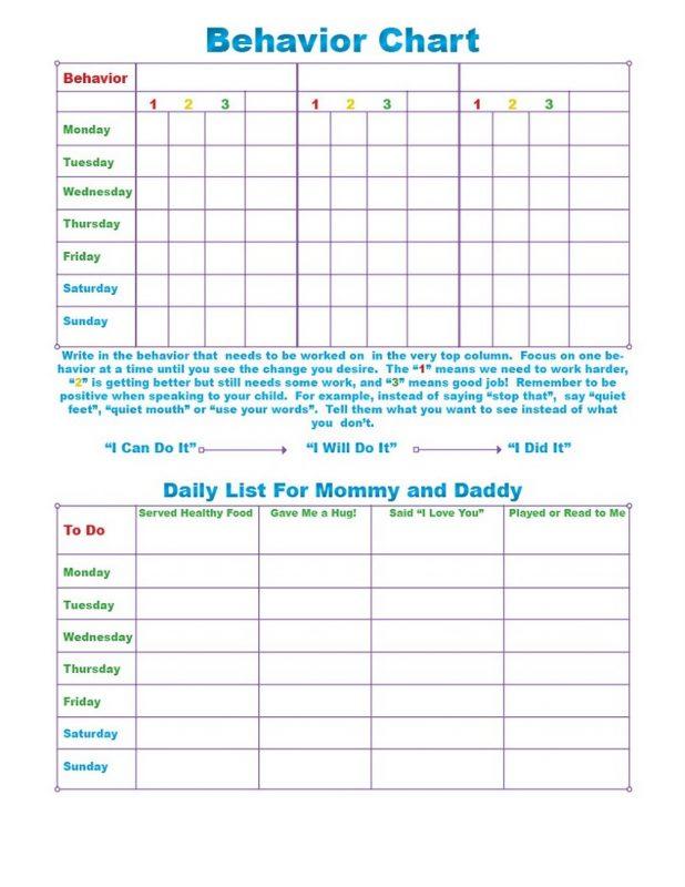 free printable childrens behaviour chart printable