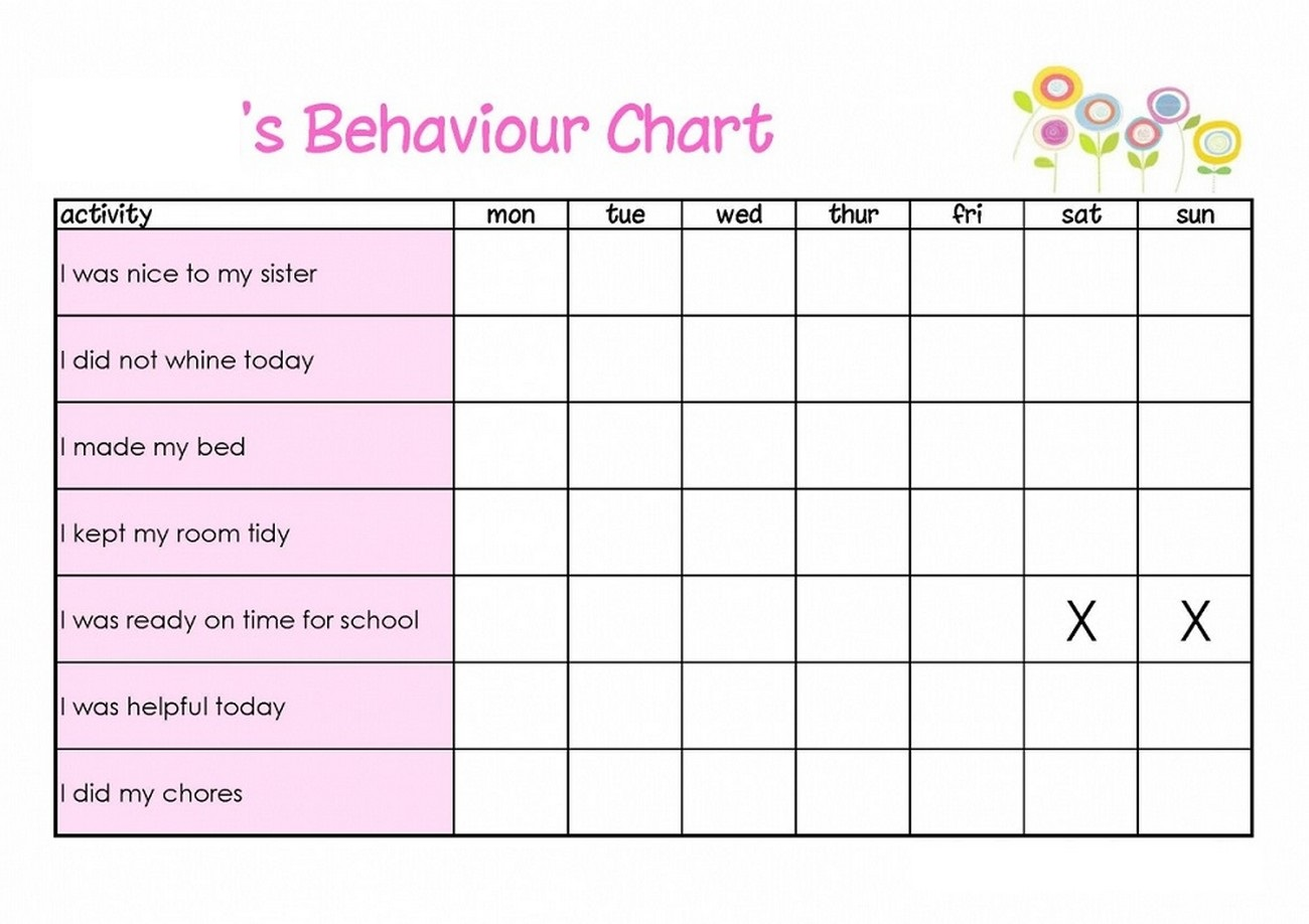 free printable childrens behaviour chart sample