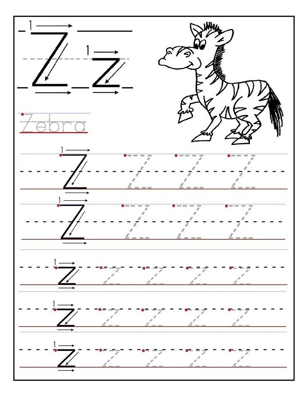 Kindergarten Letter Tracing Page Learning Printable
