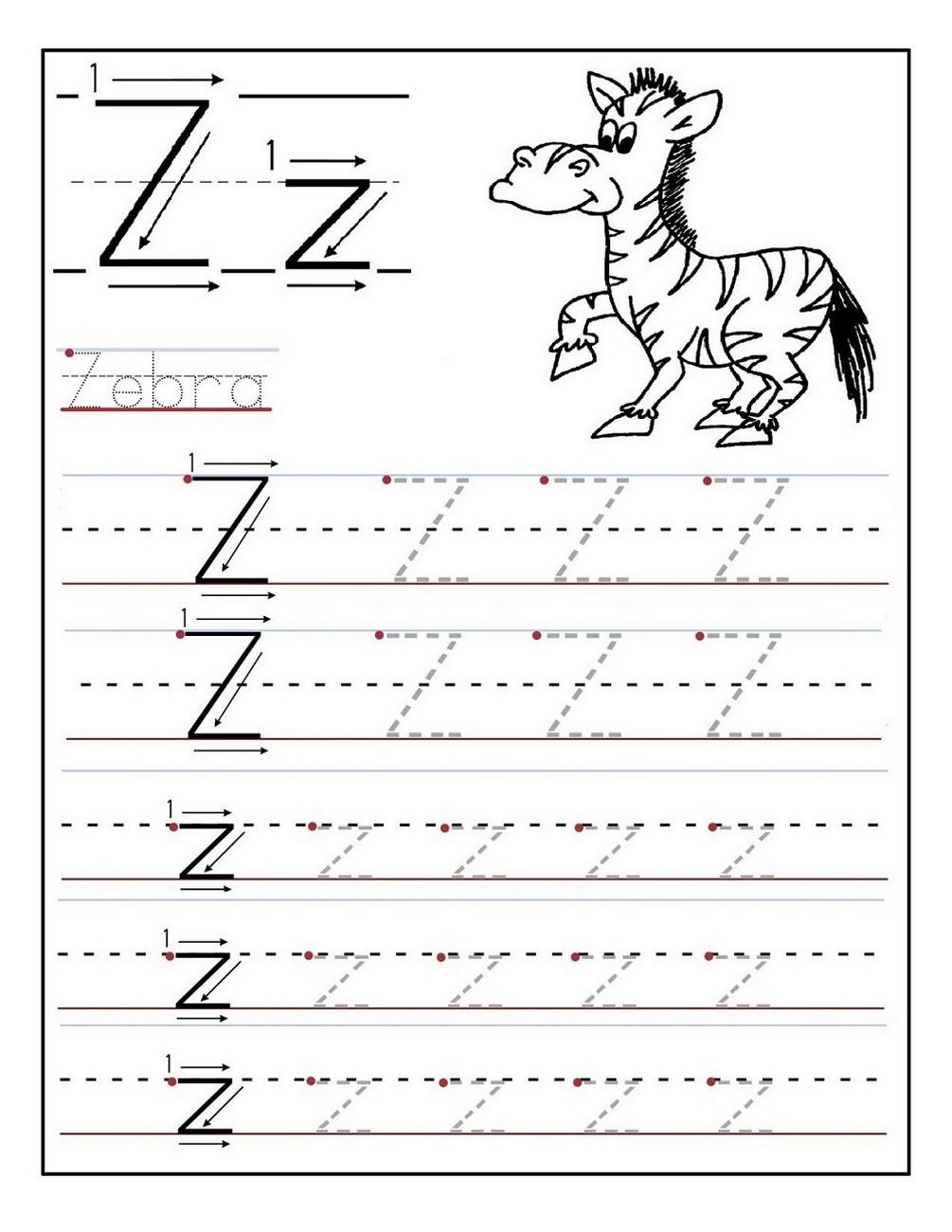 kindergarten letter Z tracing page
