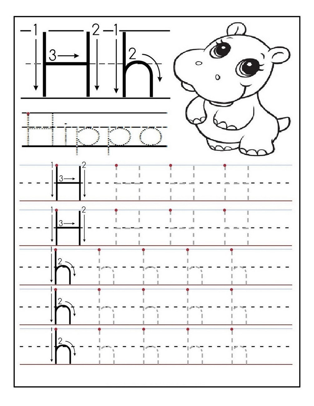 kindergarten letter tracing sheet