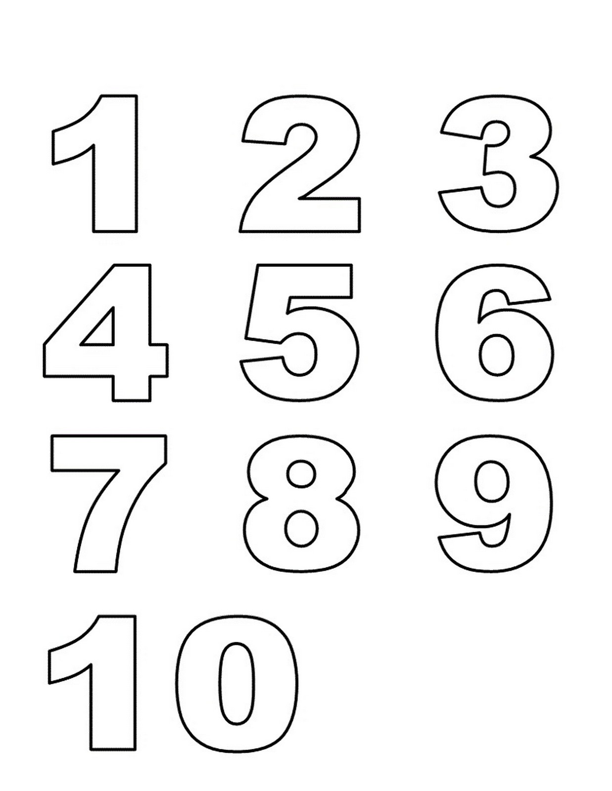 numbers 1-10 preschool printables list