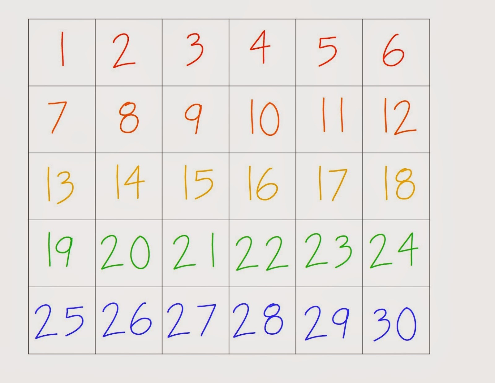 Accomplished image intended for printable numbers 1-30