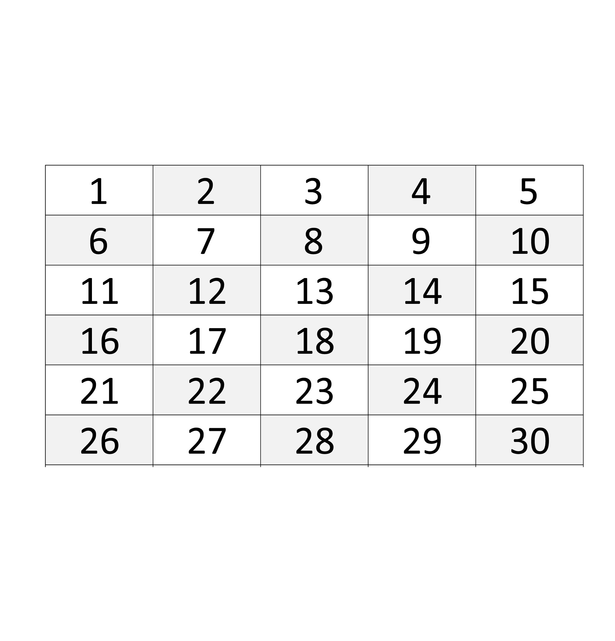 Tactueux image in free printable numbers 1-30