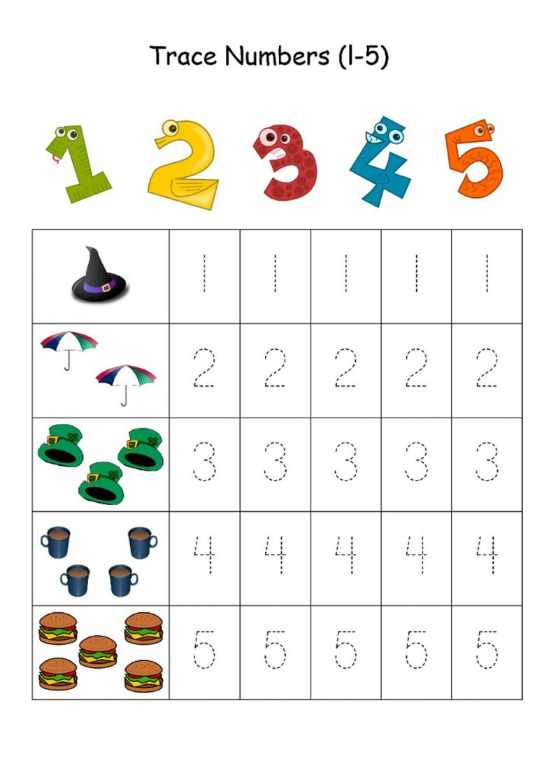 Numbers 1 5 Traceable on Maths Puzzle Number