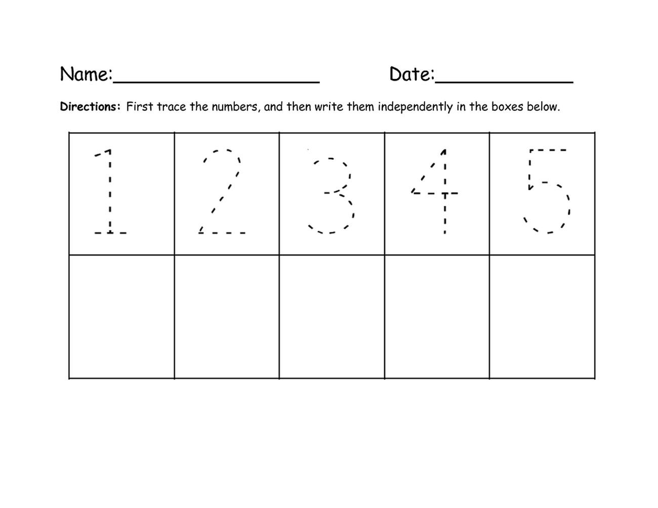 numbers 1-5 traceable printable