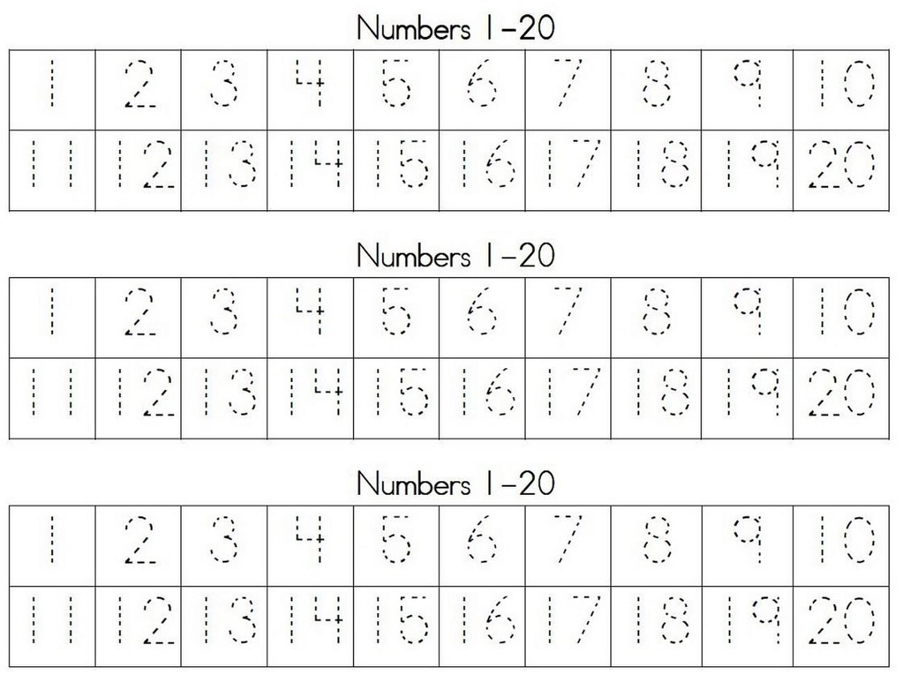 numbers activities for preschoolers tracing