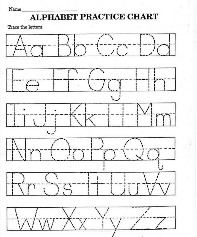 practicing the alphabet for preschooler page