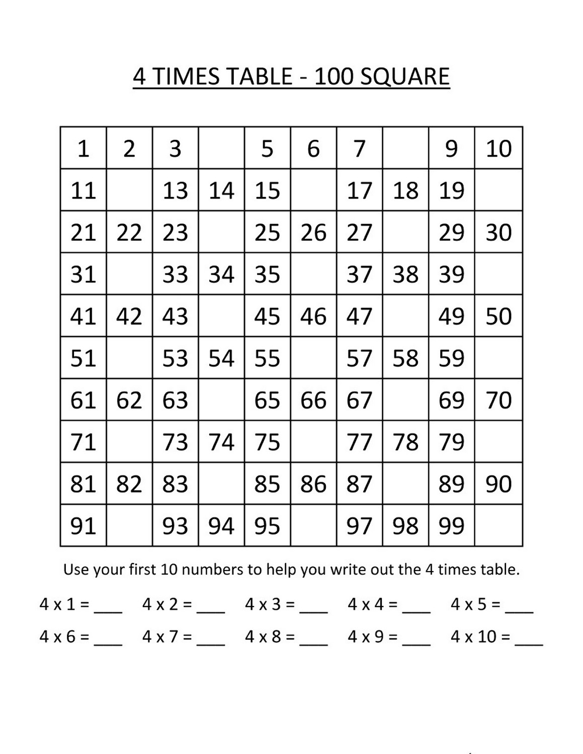 times table exercise basic practice to 100