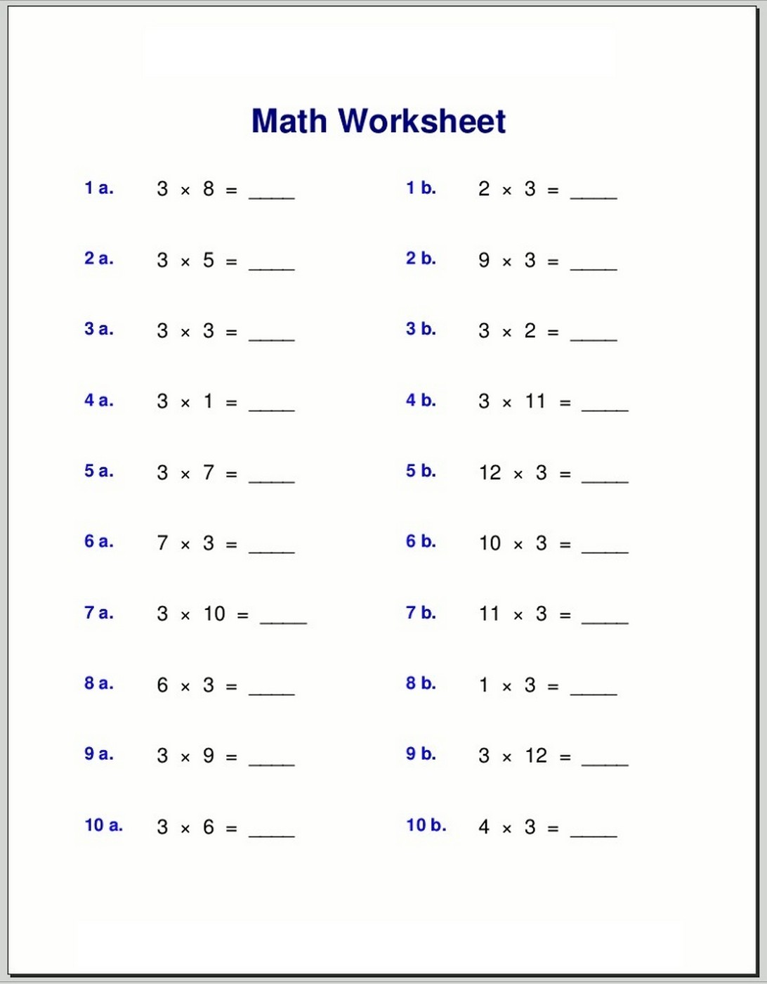 times tables exercises to print math