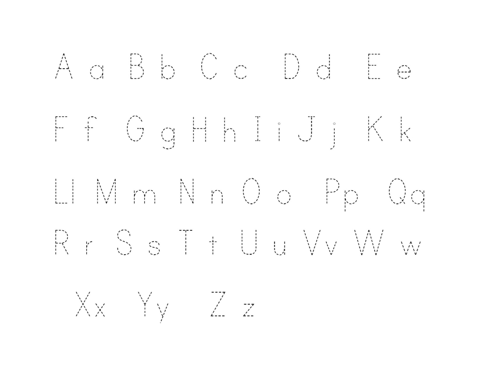 Nifty image in printable traceable alphabet chart for upper and lower case