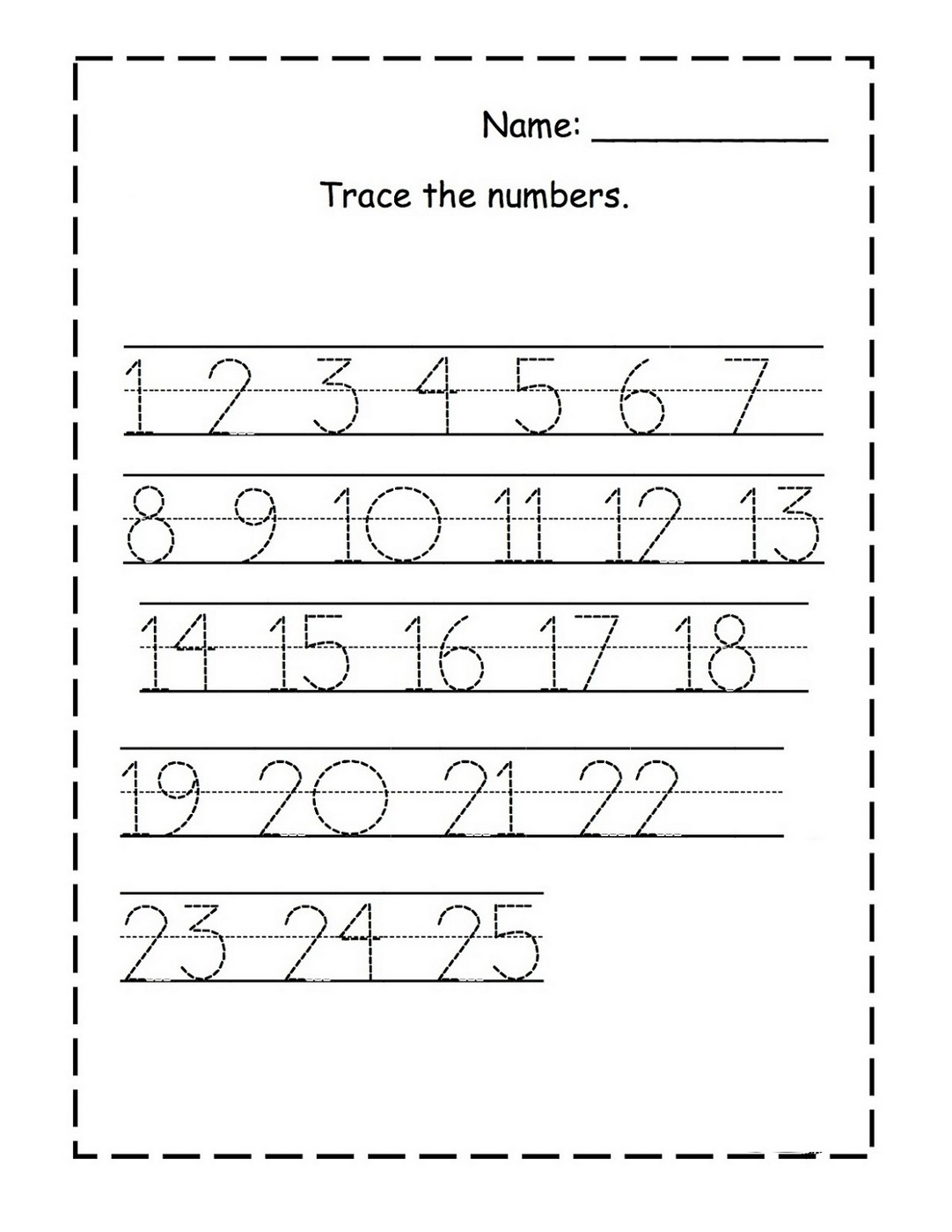 tracing numbers 1-25 for kg page