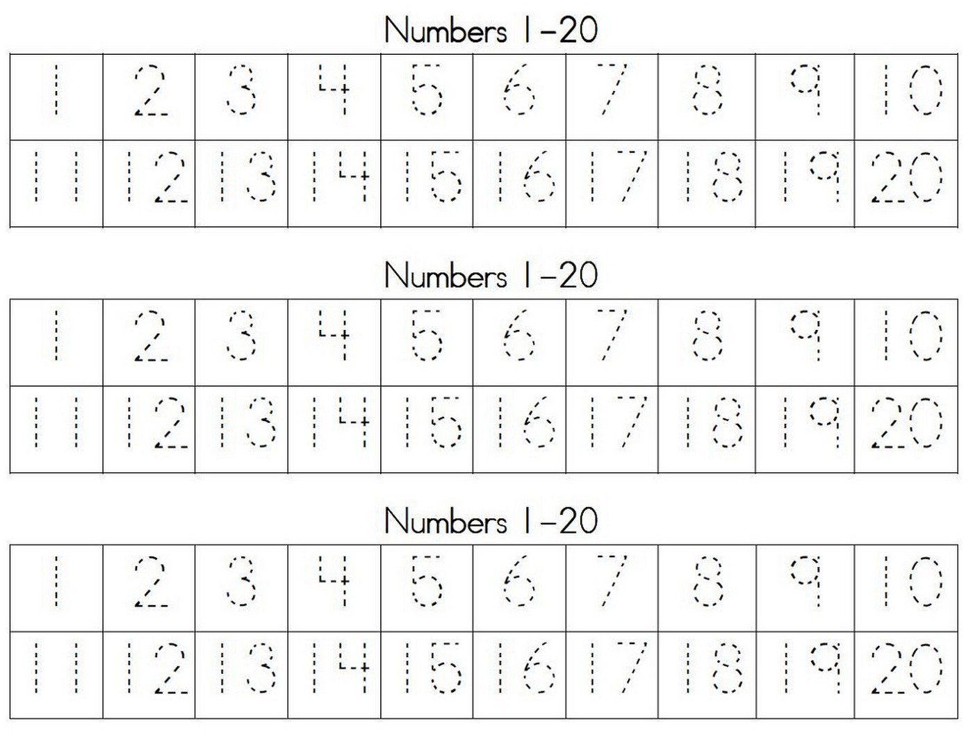 tracing numbers for kg practice 1-20