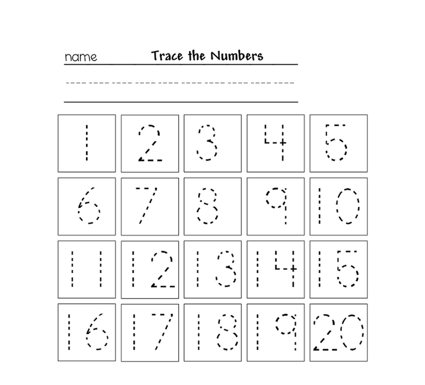 tracing numbers for kg printable worksheet