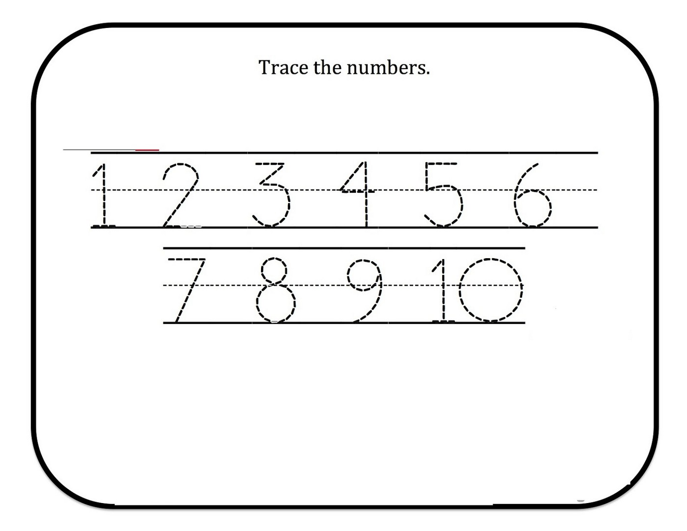tracing numbers for kg worksheet 1-9