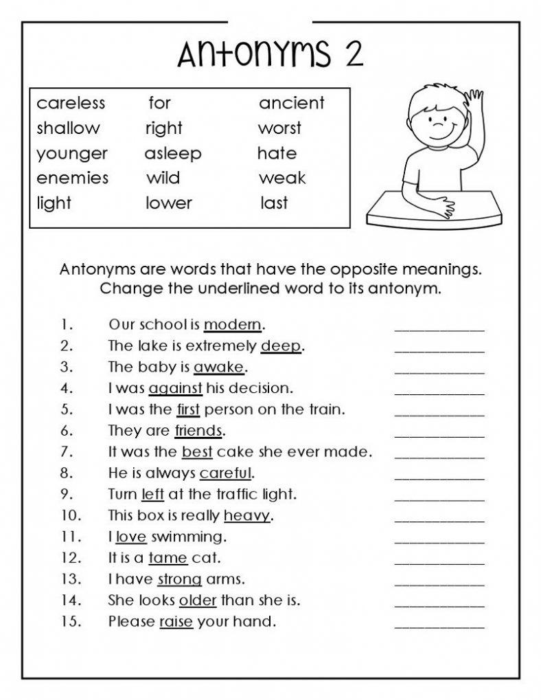 English Worksheets for Kids Antonym – Learning Printable