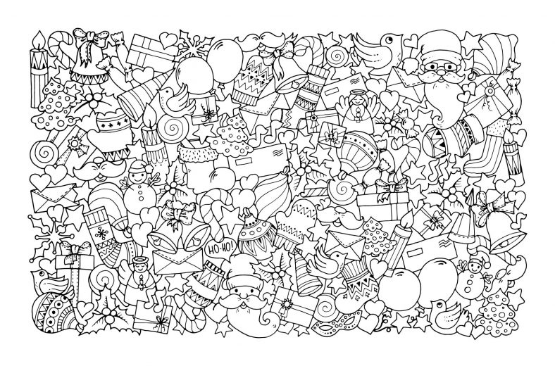 Advanced Christmas Coloring Pages To Print : Advanced printable coloring pages for adults learning