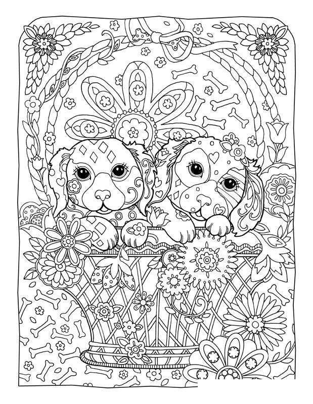 printable coloring pages for adults dogs Learning Printable