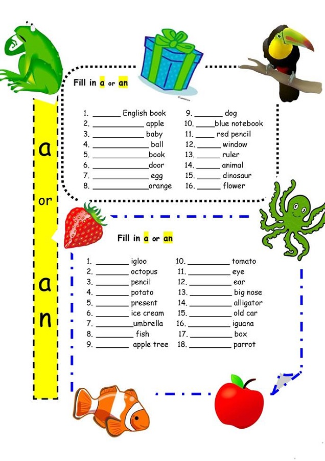A and An Worksheets Free Printable Children