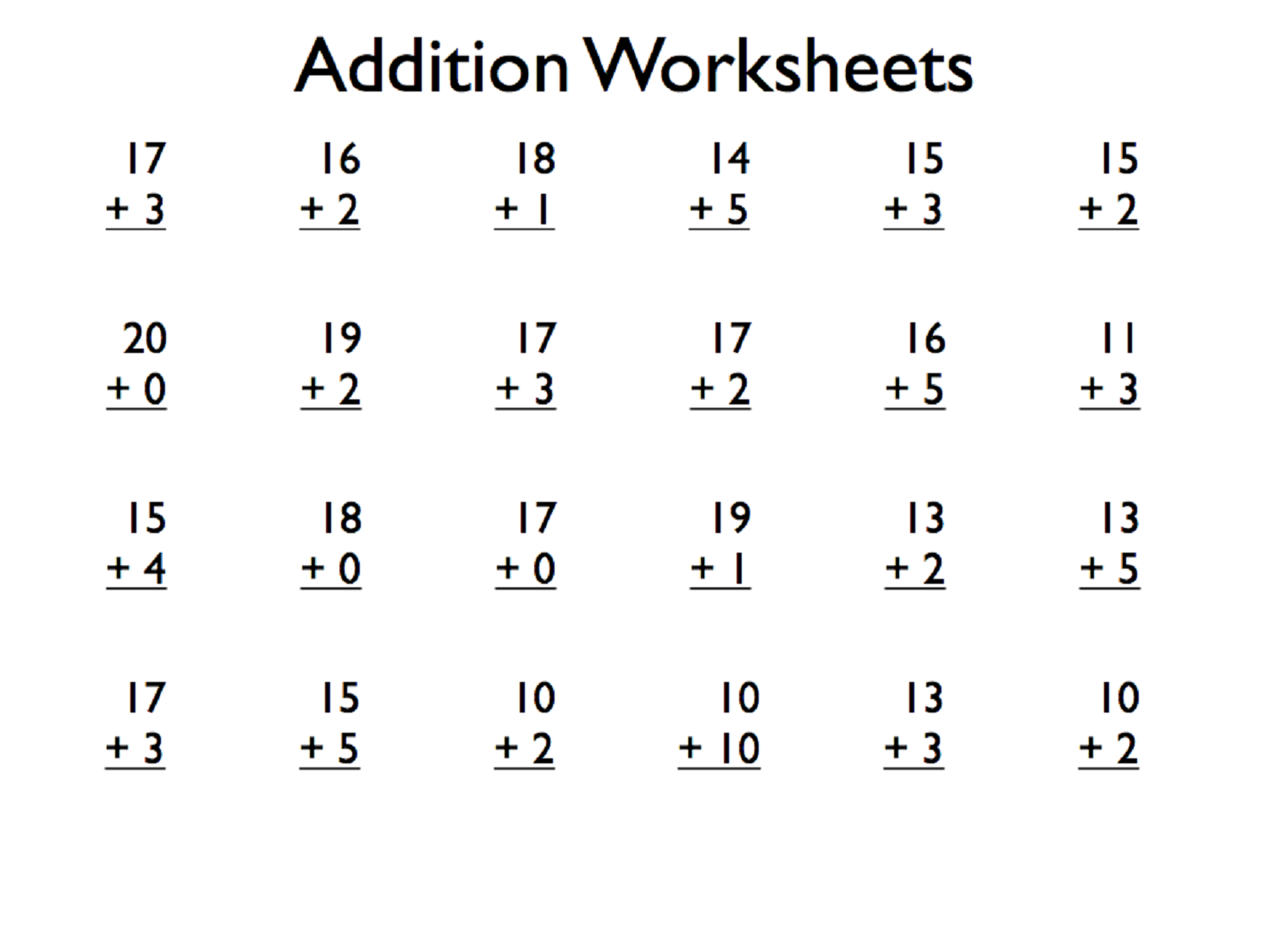 Printable Addition Worksheets for Kids | Learning Printable