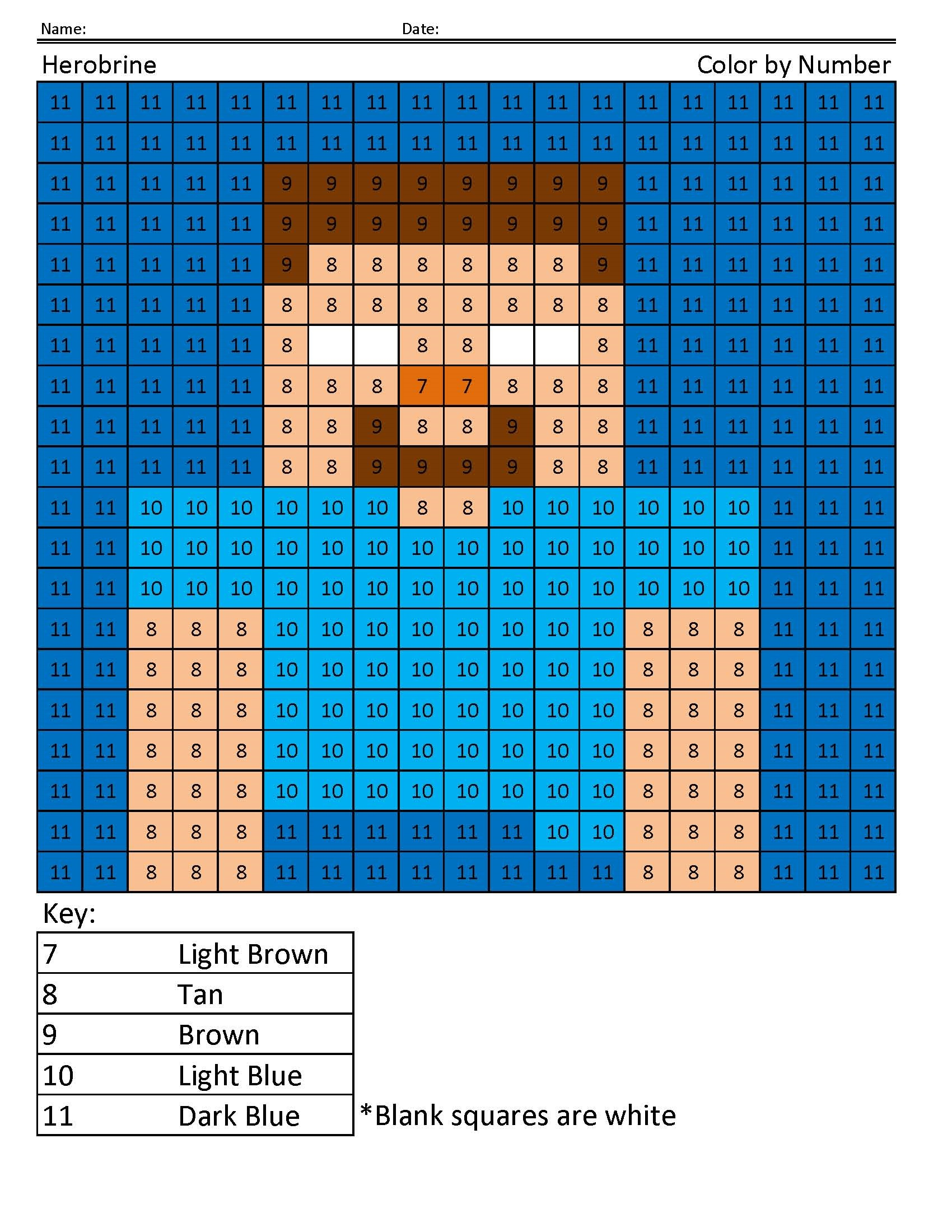 Minecraft Colors To Print Learning Printable