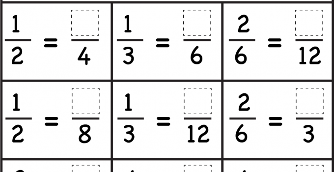 Equivalent Fraction Worksheets