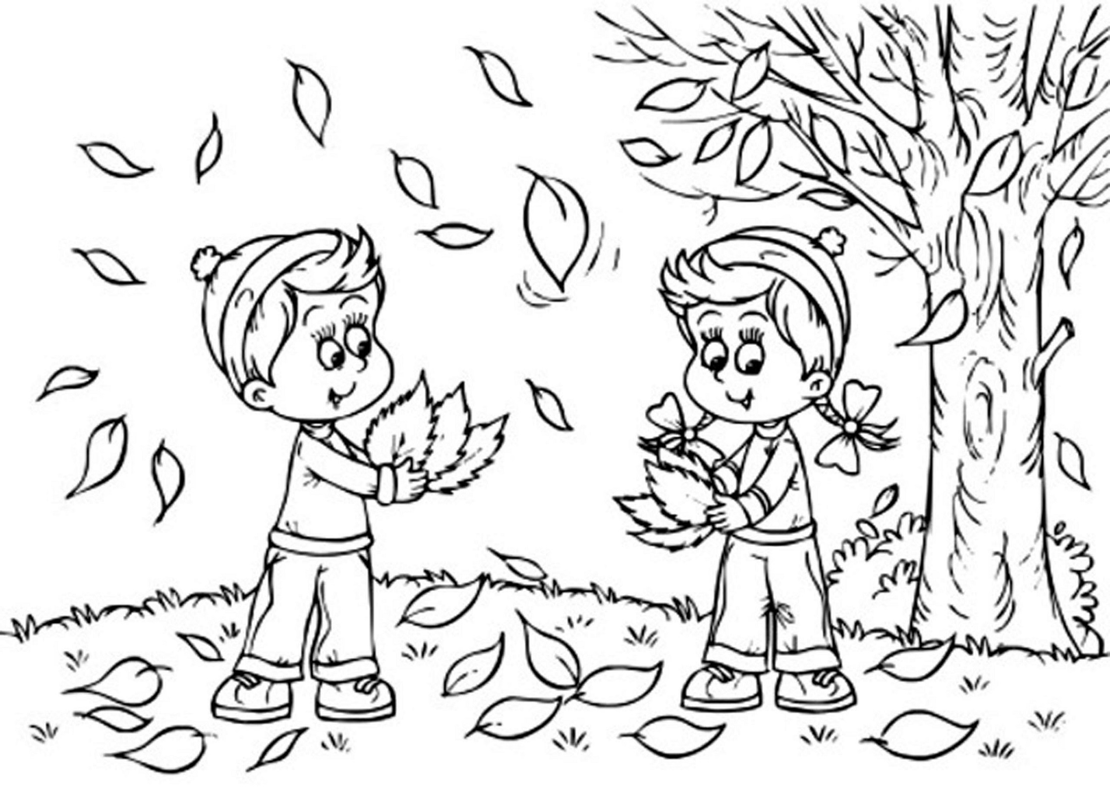 Fall Coloring Pages for Kindergarten Learning Printable