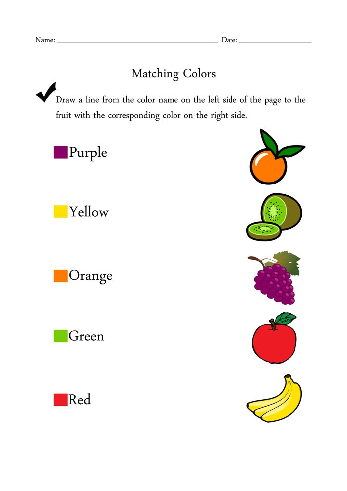 Fruit Color Activities for Kindergarten
