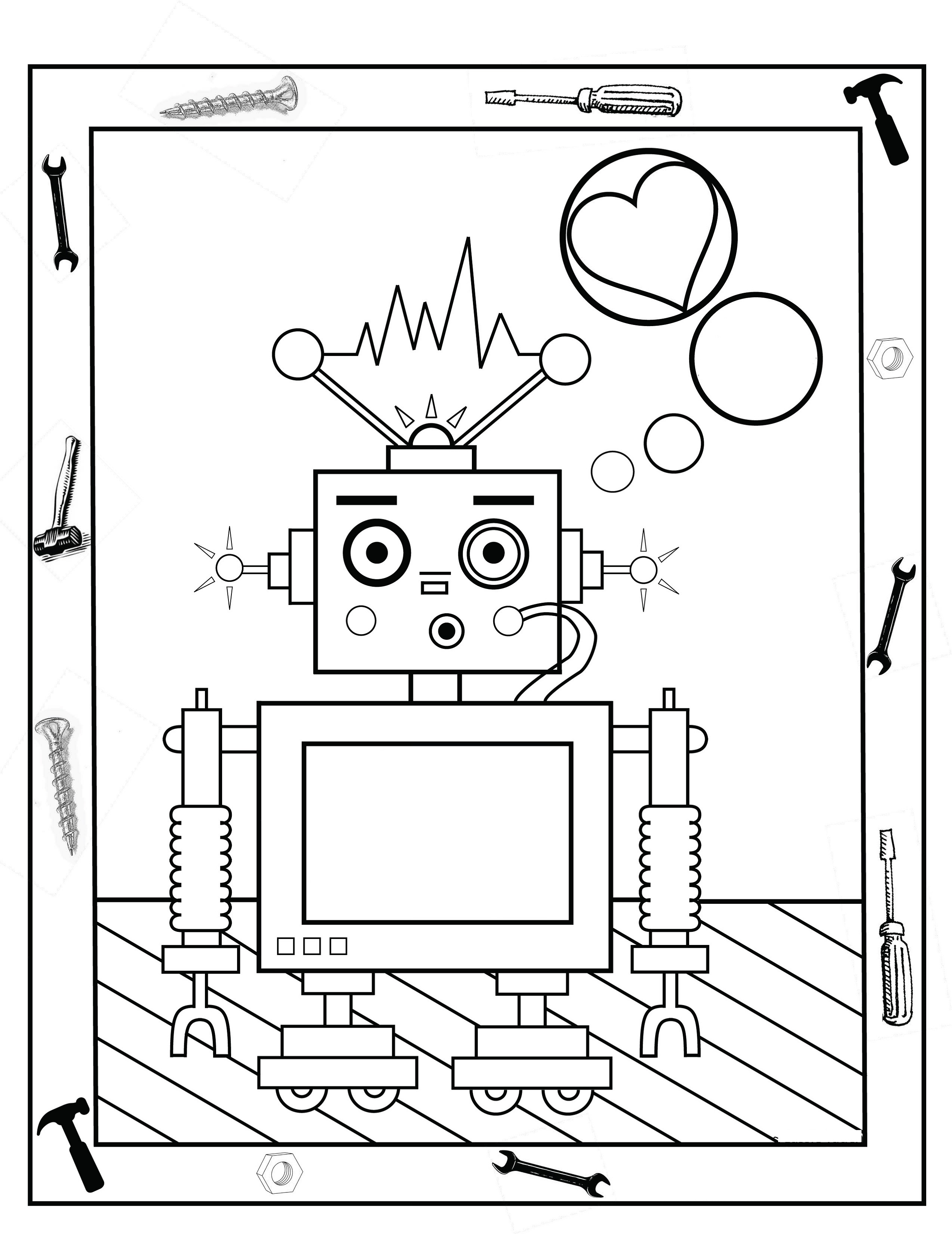 Fun Activity Page robot coloring