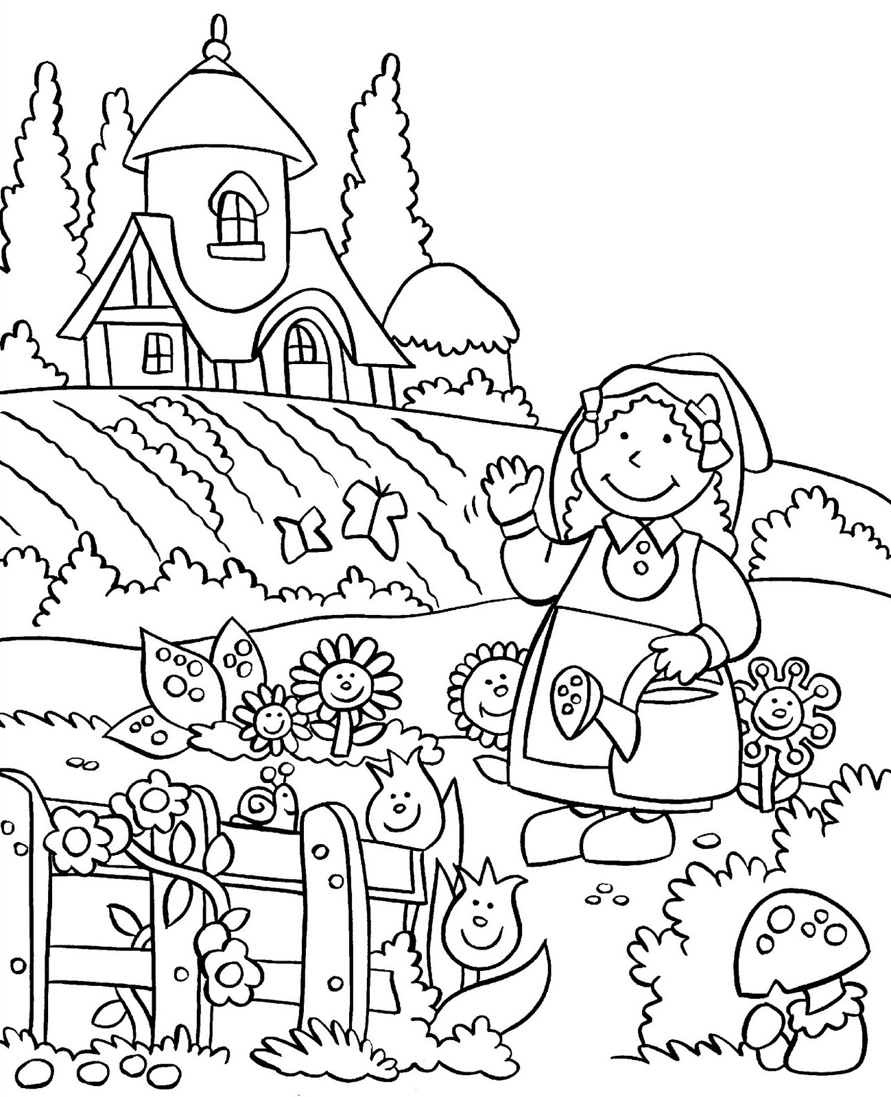 coloring pages of vegetable gardens - photo#20
