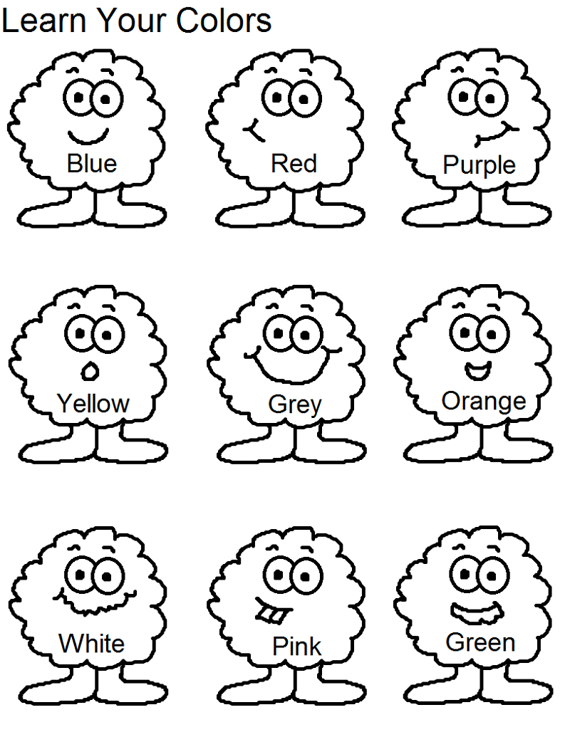 Kg Worksheets for Colour