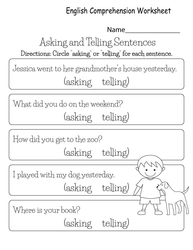 Kg Worksheets for Comprehension