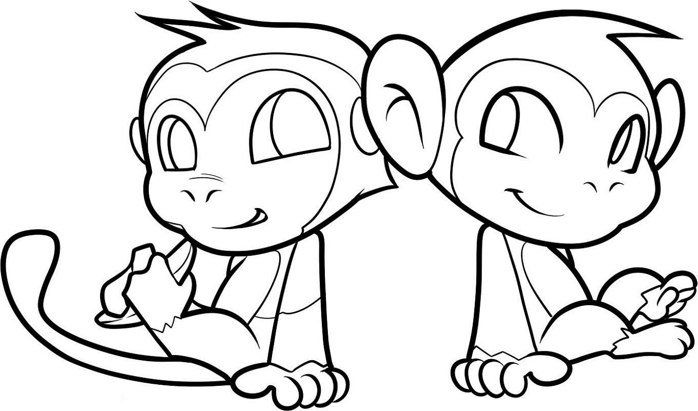 Monkey Coloring Pages for Children
