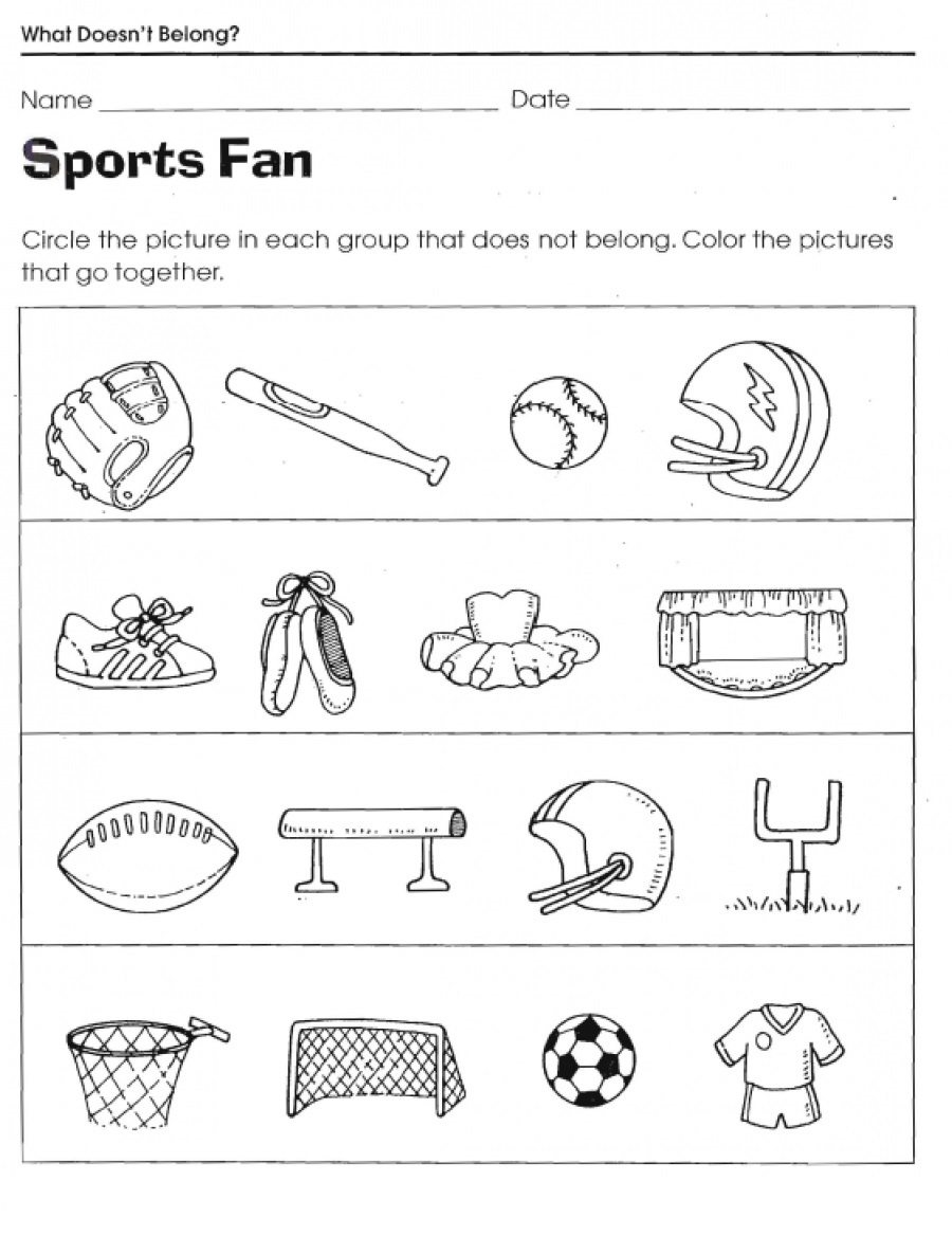 Sport Color Activities for Kindergarten