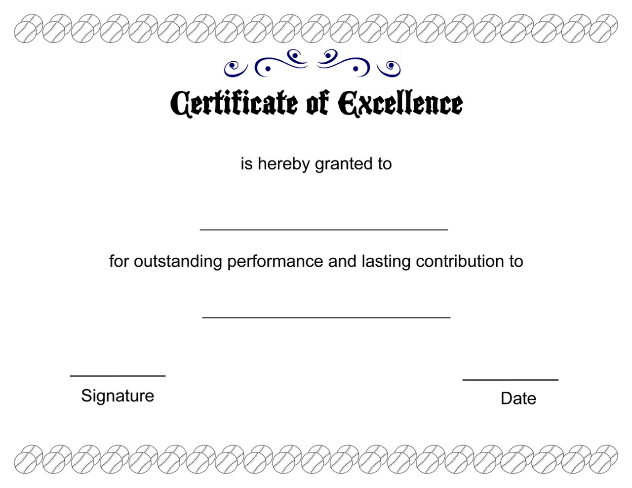 certificate of excellence printable image