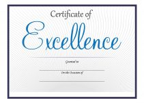certificate of excellence printable simple