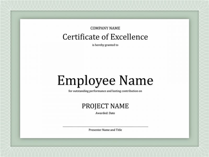 certificate of excellence printable template