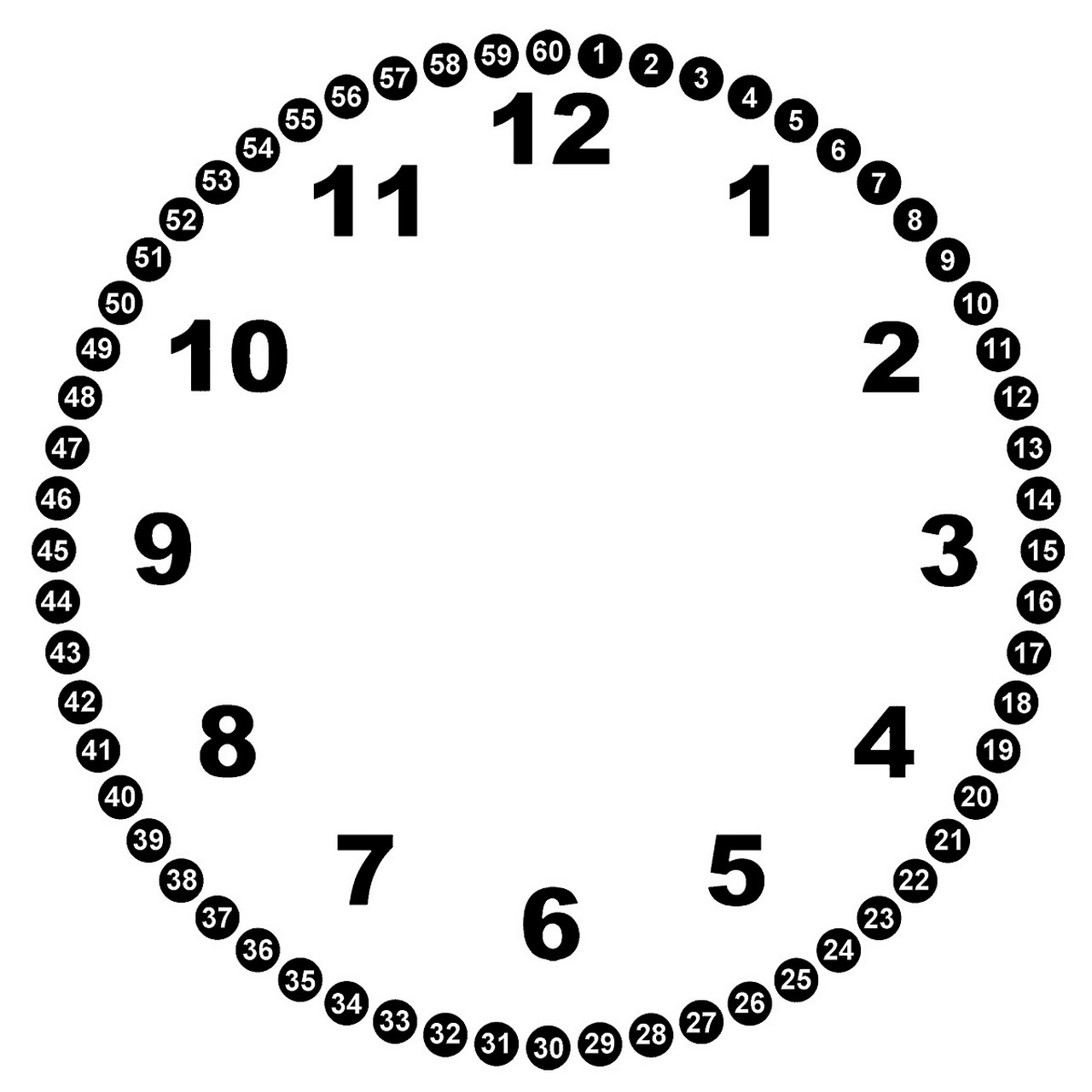 clock face with minutes printable page