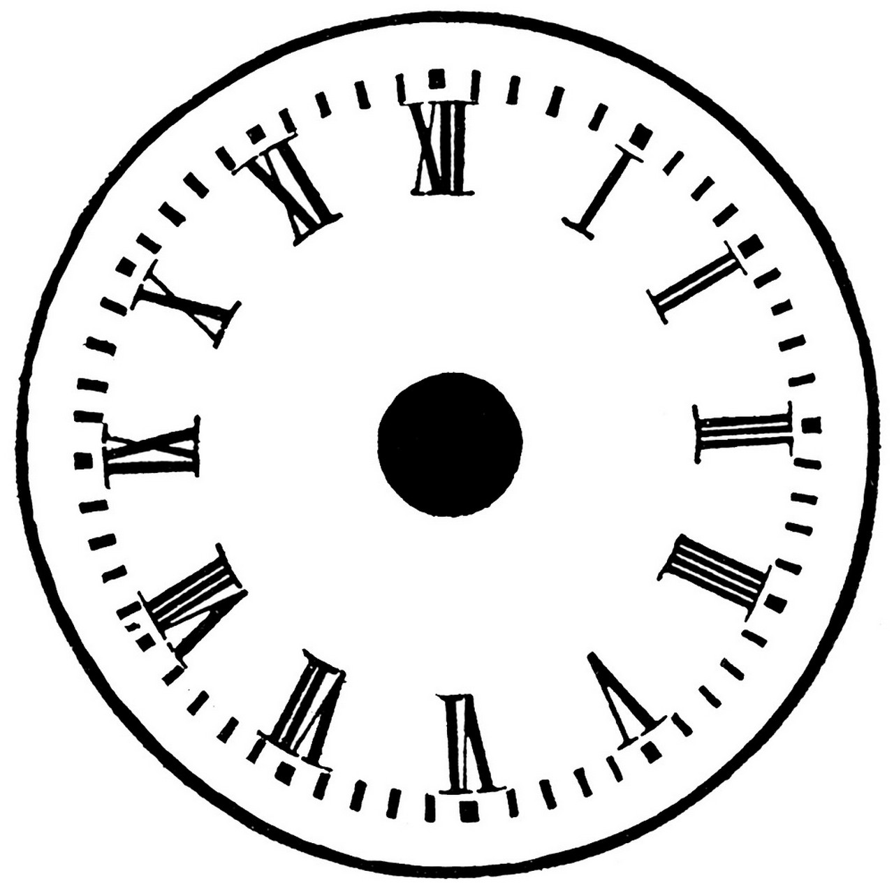 clock face with minutes printable rome