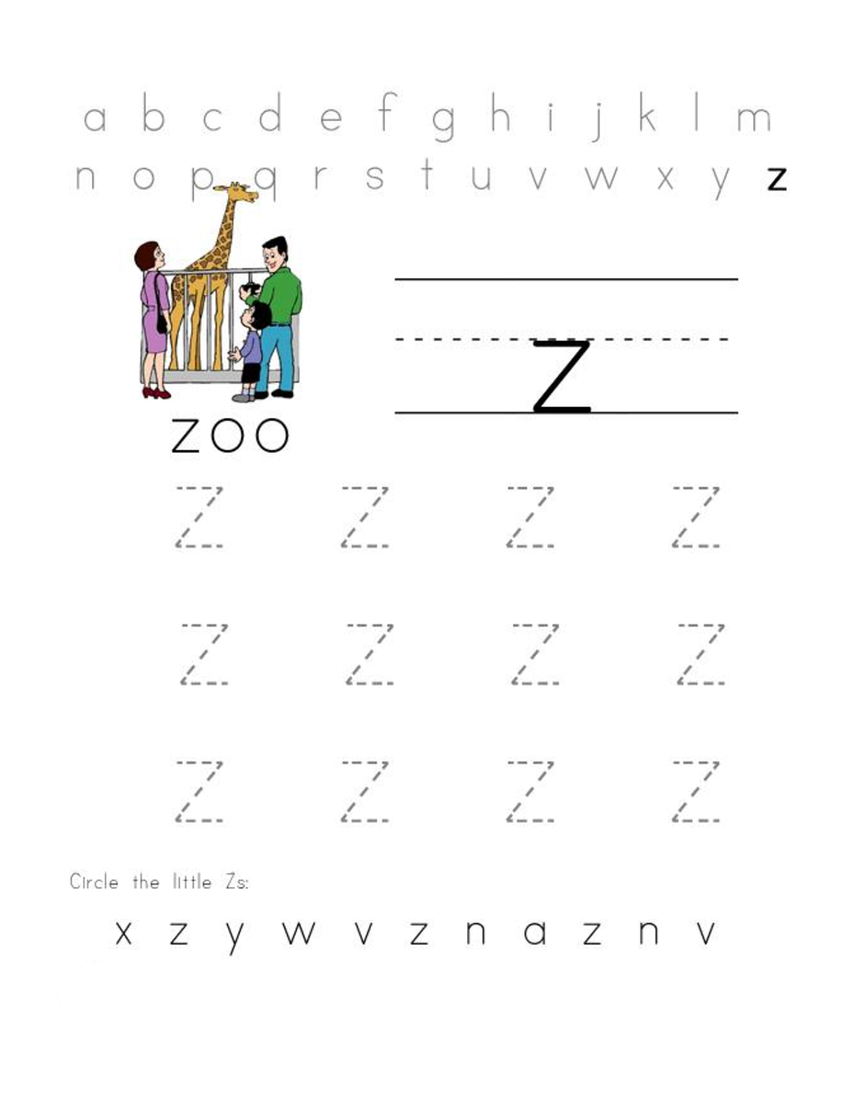 letter z worksheets for preschool practice