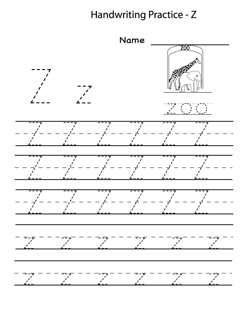 letter z worksheets for preschool tracing