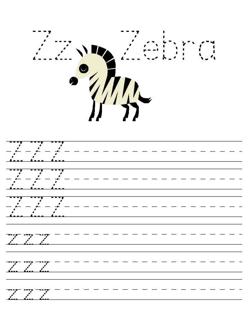 letter z worksheets for preschool zebra tracing